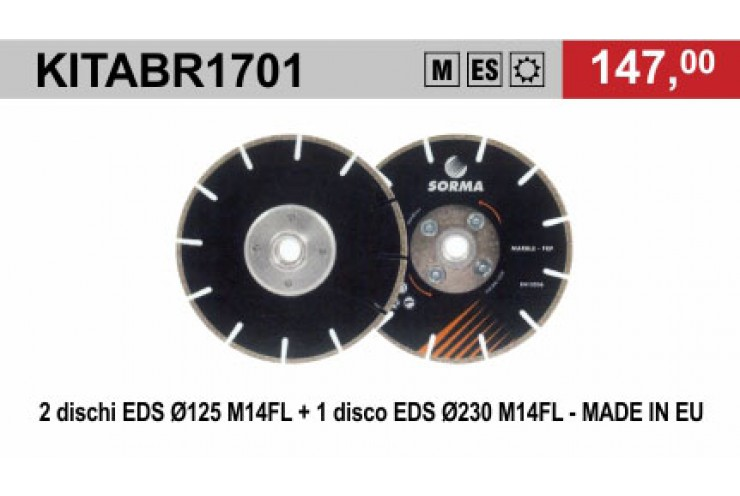PROMO MARMOMAC - KIT DRY CUTTING BLADES FOR ANGLE GRINDERS  EDS - SORMA